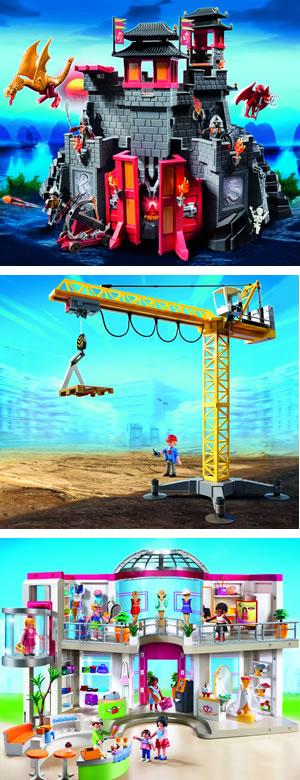 playmobil asia castle, shopping mall, large crane