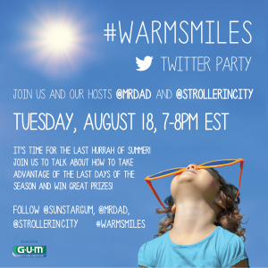 Join the #WarmSmiles #Twitterparty August 18, 7-8pm eastern,